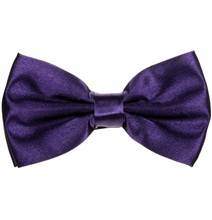 Dark Purple Satin Bow Tie