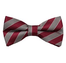 Burgundy and Beige Stripes Bow Tie