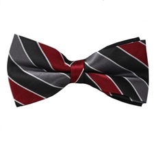 Grey, Black and Garnet Stripes Bow Tie