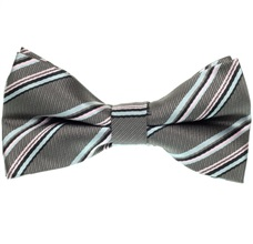 Pink and Gray Stripes Bow Tie