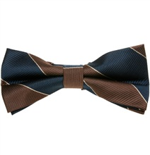 Brown and Blue Stripes Bow Tie
