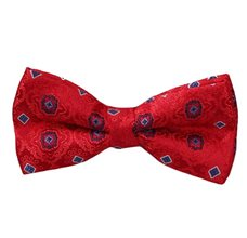 Red Bow Tie with Blue Design