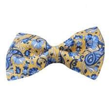 Yellow Silk Bow Tie with Blue Flowers and Paisley