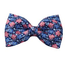 Dark Blue Silk Bow Tie with Blue and Coral Flowers