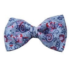 Blue Silk Bow Tie with Flowers and Paisley