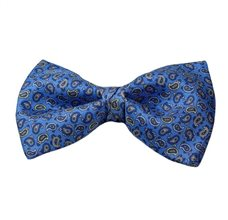Royal Blue Silk Bow Tie with Blue Paisley