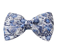 White Silk Bow Tie with Blue Flowers and Paisley