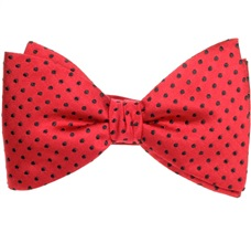 Red Silk Bow Tie with Black Dots