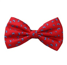 Red Silk Bow Tie with Butterflies