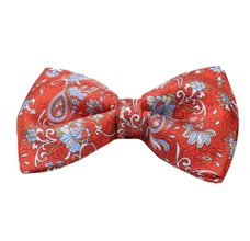 Dark Orange Silk Bow Tie with Flowers and Paisley