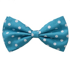 Turquoise Bow Tie with White Dots