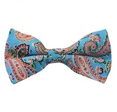 Turquoise Bow Tie with Paisley