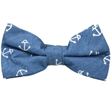 Jeans Bow Tie with Anchors