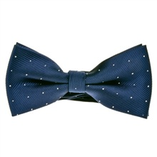 Navy blue dots silk bow tie