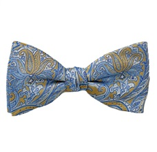 Yellow Bow Tie and Pocket Square with Blue Paisley