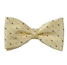 Yellow Bow Tie and Pocket Square with Dots
