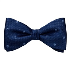 Blue Bow Tie and Pocket Square with Skulls