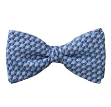 Blue Bow Tie and Pocket Square with Geometric Design