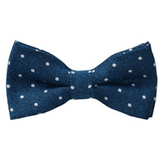 Blue Bow Tie and Pocket Square with White Dots