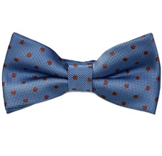 Blue Bow Tie and Pocket Square with Brown Dots
