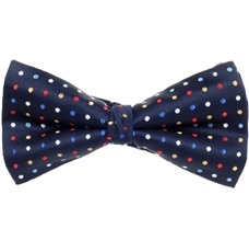 Blue Bow Tie and Pocket Square with Multicolor Dots