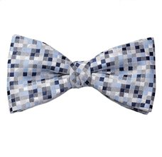 Blue Bow Tie and Pocket Square with Design Geometric