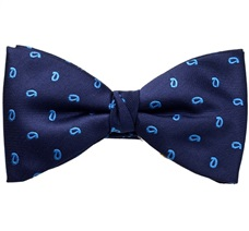 Blue Bow Tie and Pocket Square with Royal Blue Paisley