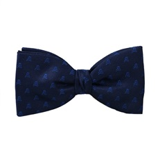 Blue Bow Tie and Pocket Square with Royal Blue Skulls