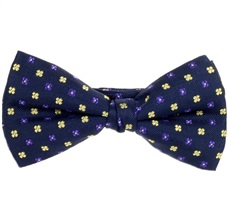 Blue Bow Tie and Pocket Square with Yellow Flowers