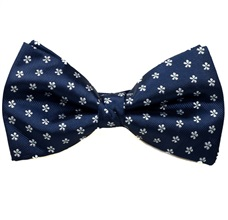 Blue Bow Tie and Pocket Square with Daisies
