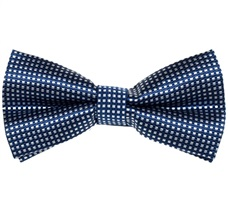 Blue Bow Tie and Pocket Square with White Checks