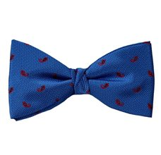 Royal Blue Bow Tie and Pocket Square with Paisley