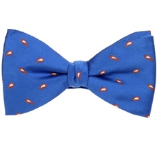 Royal Blue Bow Tie and Pocket Square with Brown Paisley