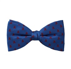 Royal Blue Bow Tie and Pocket Square with Red Skulls