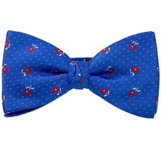 Royal Blue Bow Tie and Pocket Square with Red Roses
