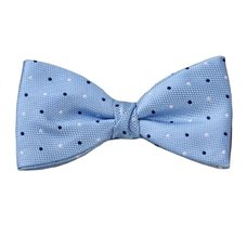 Sky Blue Bow Tie and Pocket Square with Dots