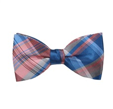 Pink and Blue Checked Bow Tie and Pocket Square