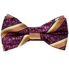 Bow Tie and Pocket Square with Stripes and Flowers