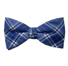 Blue Checked Bow Tie and Pocket Square