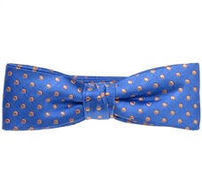 Royal Blue Silk Boy's Bow Tie and Pocket Square with Orange Dots