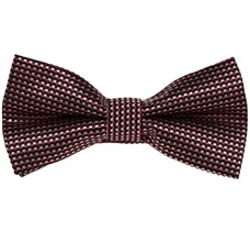 Garnet Bow Tie and Pocket Square with Checks