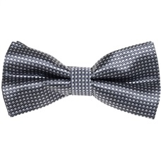 Grey Bow Tie and Pocket Square with Checks