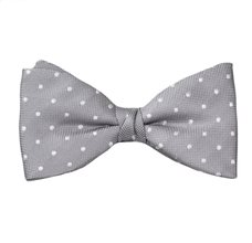 Grey Bow Tie and Pocket Square with Dots