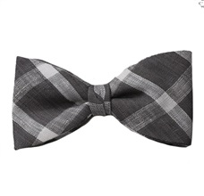 Grey and White Checked Bow Tie and Pocket Square