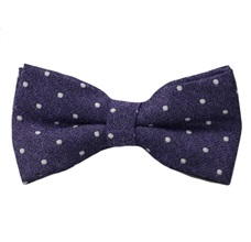 Purple Bow Tie and Pocket Square with White Dots