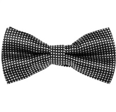 Black Bow Tie and Pocket Square with Checks
