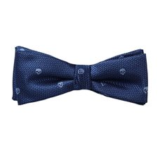 Blue Boy's Bow Tie and Pocket Square with Skulls