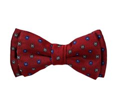 Burgundy Boy's Bow Tie and Pocket Square with Flowers