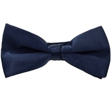 Dark Blue Satin Bow Tie and Pocket Square
