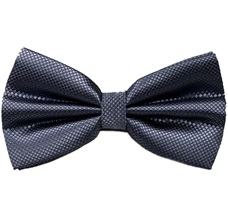 Grey Satin Bow Tie and Pocket Square